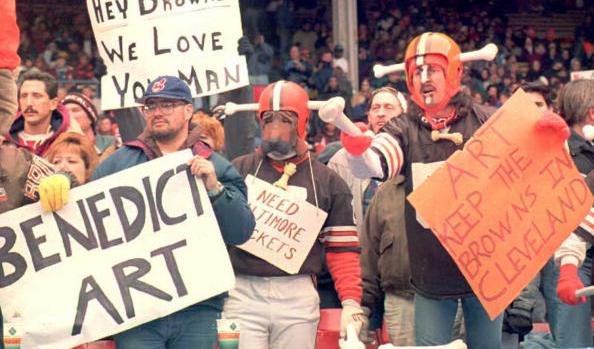 Cleveland Browns fans, some dressed in the team's