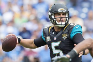 NASHVILLE, TN - OCTOBER 12:  Blake Bortles #5 of the Jacksonville Jaguars throws a pass against the Tennessee Titans at LP Field on October 12, 2014 in Nashville, Tennessee.  The Titans defeated the Jaguars 16-14.  (Photo by Wesley Hitt/Getty Images)