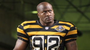 November 18, 2012; Pittsburgh, PA, USA; Pittsburgh Steelers outside linebacker James Harrison (92) takes the field to begin the game against the Baltimore Ravens during the first quarter at Heinz Field. The Baltimore Ravens won 13-10. Mandatory Credit: Charles LeClaire-USA TODAY Sports