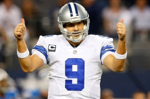 ARLINGTON, TX - JANUARY 04:  Tony Romo #9 of the Dallas Cowboys gestures against the Detroit Lions during the second half of their NFC Wild Card Playoff game at AT&T Stadium on January 4, 2015 in Arlington, Texas.  (Photo by Tom Pennington/Getty Images)