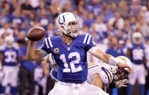INDIANAPOLIS, IN - SEPTEMBER 25:  Andrew Luck #12 of the Indianapolis Colts throws the ball during the game against the San Diego Chargers at Lucas Oil Stadium on September 25, 2016 in Indianapolis, Indiana.  (Photo by Andy Lyons/Getty Images)
