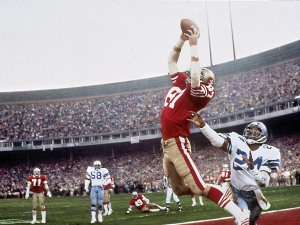 """The Catch"" -- Dwight Clark's fingertip touchdown grab of a Joe Montana pass -- instantly immortalized the 49ers' quarterback, and marked the end of one dynasty and the beginning of another in San Francisco. The thrilling victory over ""America's Team"" put the 49ers on course for the first of four Super Bowl titles over nine years. Two weeks after the epic against the Cowboys, the 49ers were Super Bowl XVI champions."